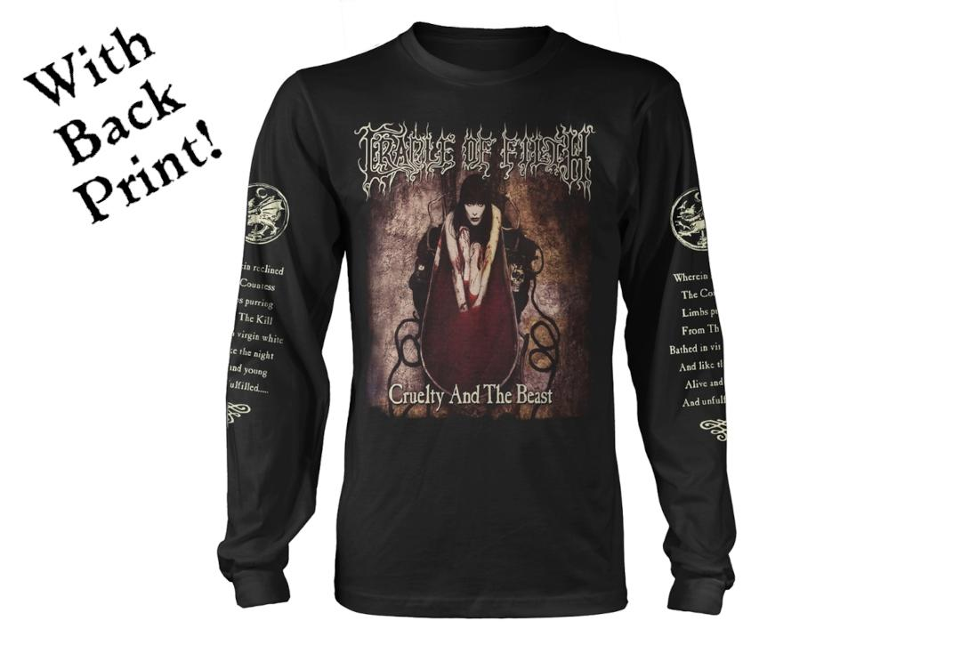 Official Band Merch | Cradle Of Filth - Cruelty And The Beast Men's Official Long Sleeve T-Shirt - Front