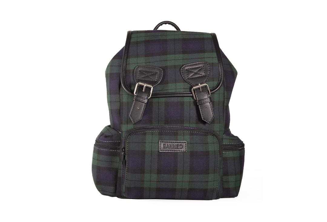 Banned Apparel | Kenneth Green Tartan Backpack - Front