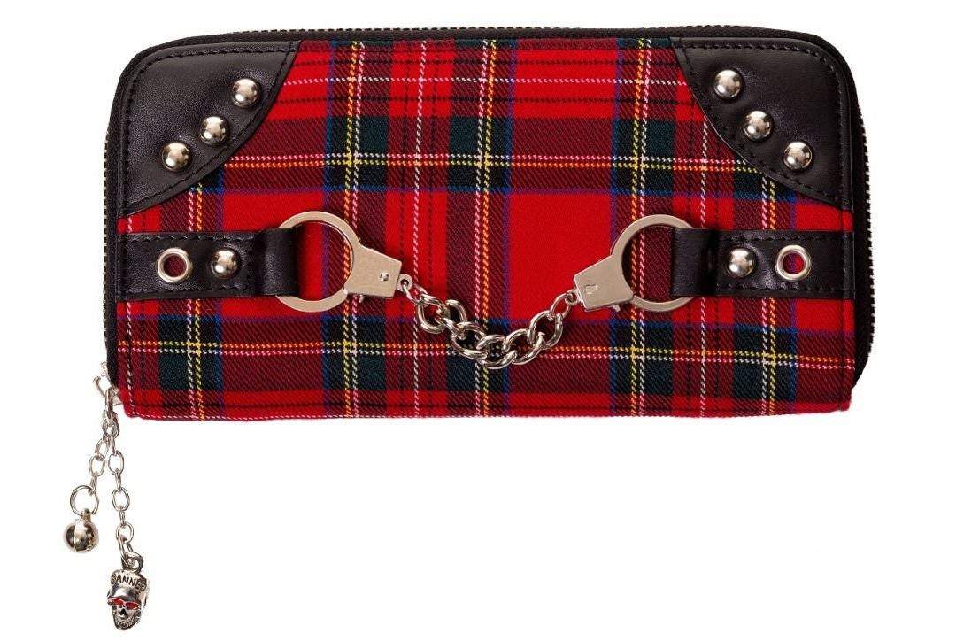 Banned Apparel | Red Tartan Handcuff Purse - Front