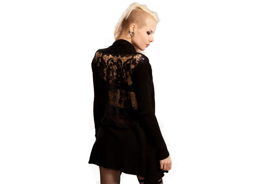 Innocent Lifestyle | Lisa Black Lace Panel Cardigan - Back