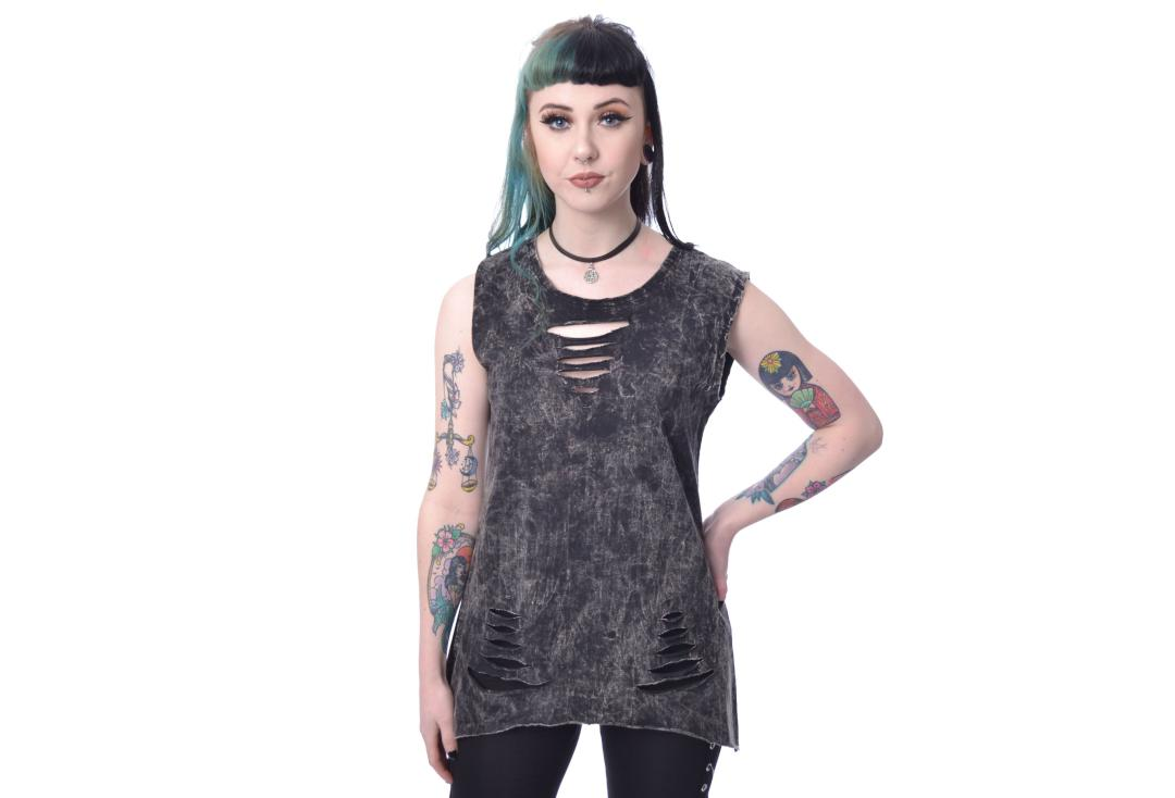 Innocent Lifestyle | Carabel Slash Stone-wash Vest Top - Front