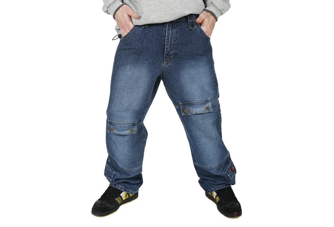 Oxyzone | Indigo Blue Dirty Denim Multi Pocket Baggy Skate Jeans - Front Modelled