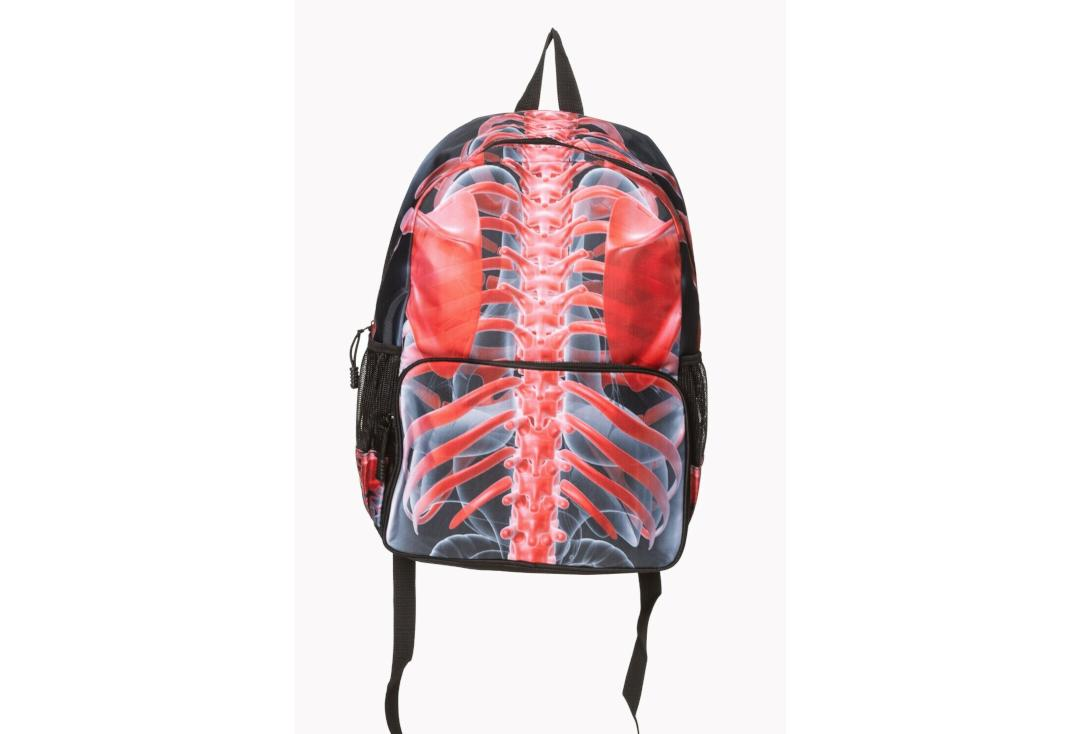 Banned Apparel | Signals Skeleton Ribcage Print Backpack - Front