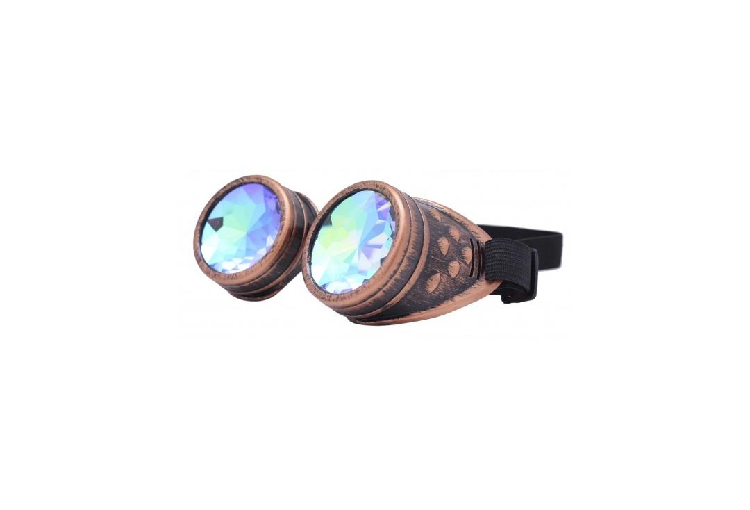 Void Clothing | Distressed Bronze & Kaleidoscope Round Cyber Goggles
