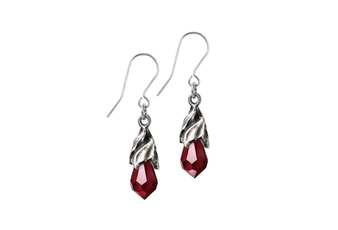 Alchemy Gothic | Empyrean Red Tear Droppers Earrings - Main