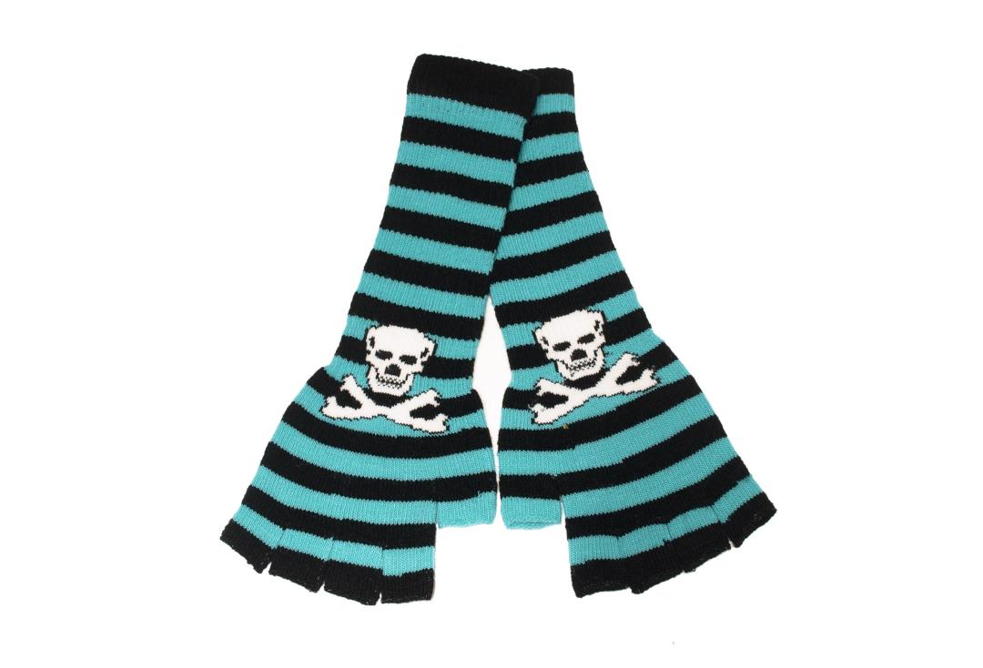 Zacharia | Turquoise & Black Stripe Skull Finger-less Gloves