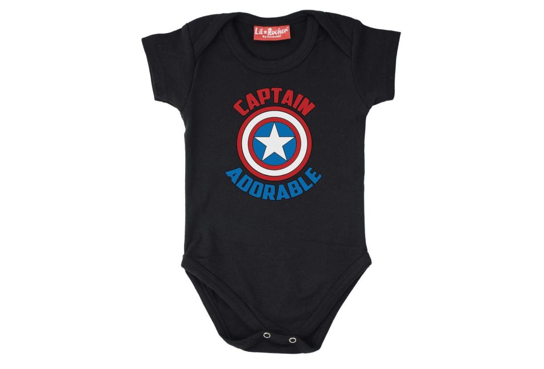 Darkside | Treat your lil Captain Adorable to this cute Marvel themed baby tee. Part of Darkside Clothing's Lil Rocker range for kids and is designed and printed in the UK
