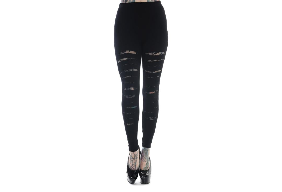 Banned Apparel | Black Slash Leggings - Front