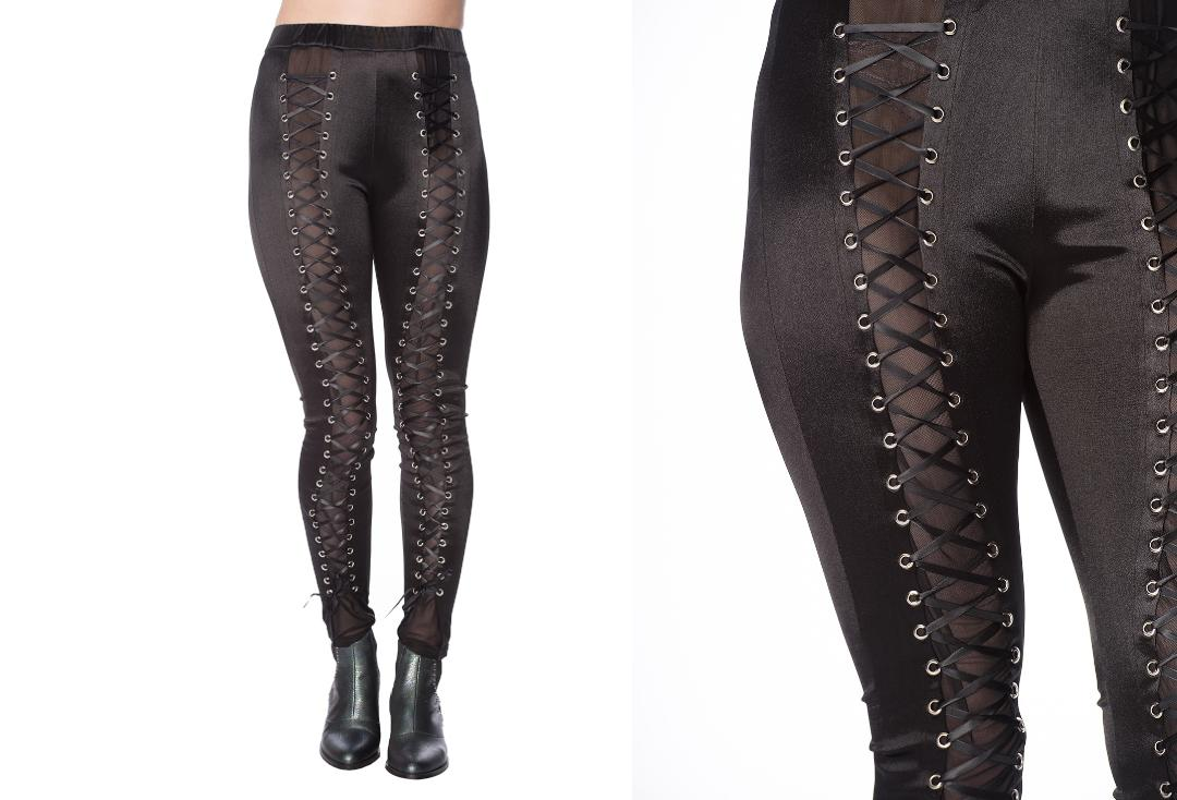 Banned Apparel | Black Wet-look Lace Up Leggings - Front Close