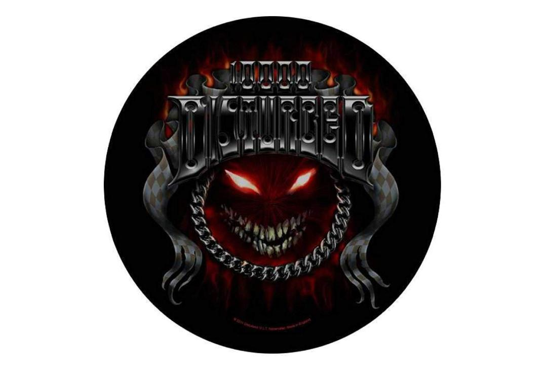 Official Band Merch | Disturbed - Chrome Smiley Printed Back Patch
