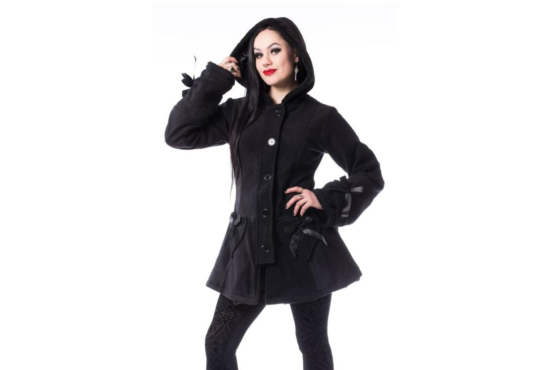 Heartless | Alison Black Fleece Hooded Jacket - Front