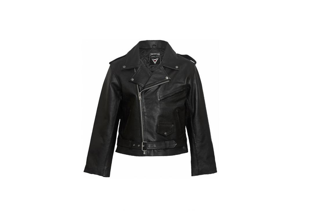 Skintan Leather | Black Leather Men's Biker Jacket - Front
