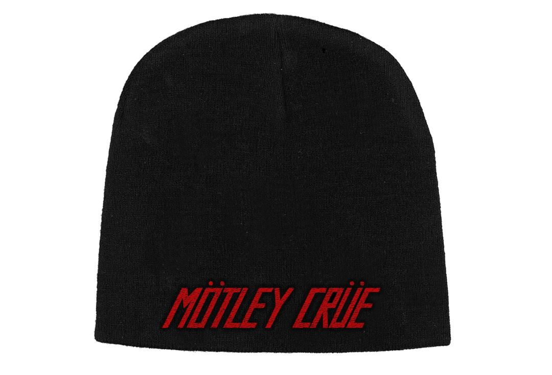 Official Band Merch | Motley Crue - Red Logo Embroidered Knitted Beanie Hat