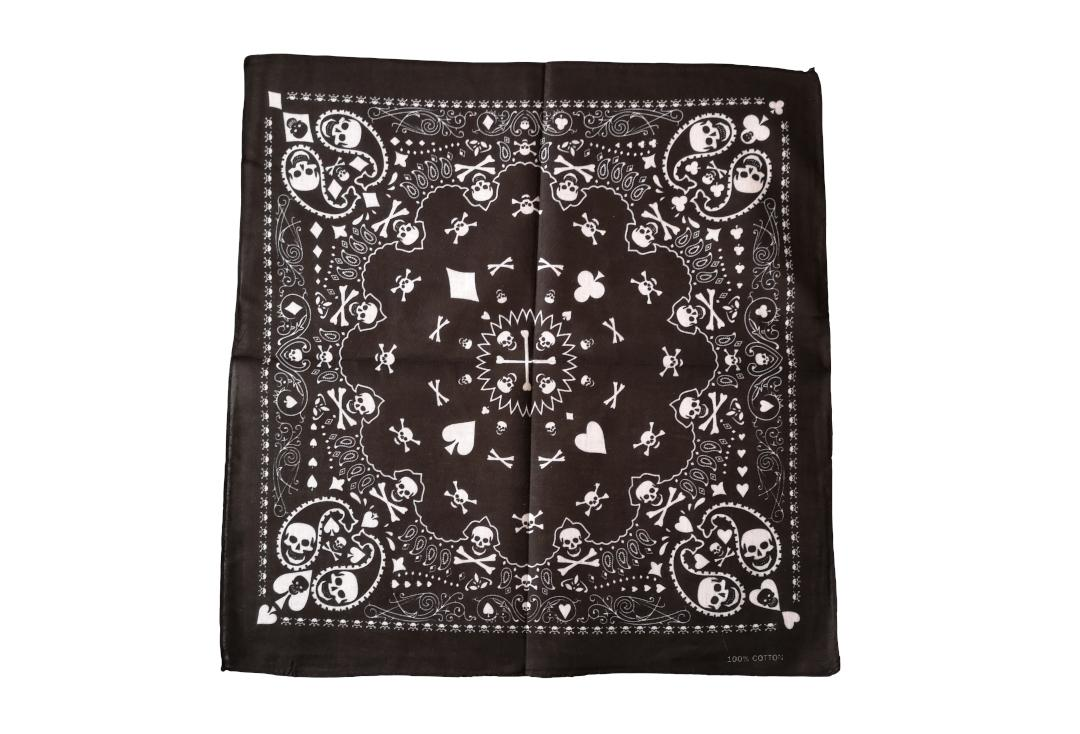 Void Clothing | Black With White Skull & Playing Card Paisley Cotton Bandana