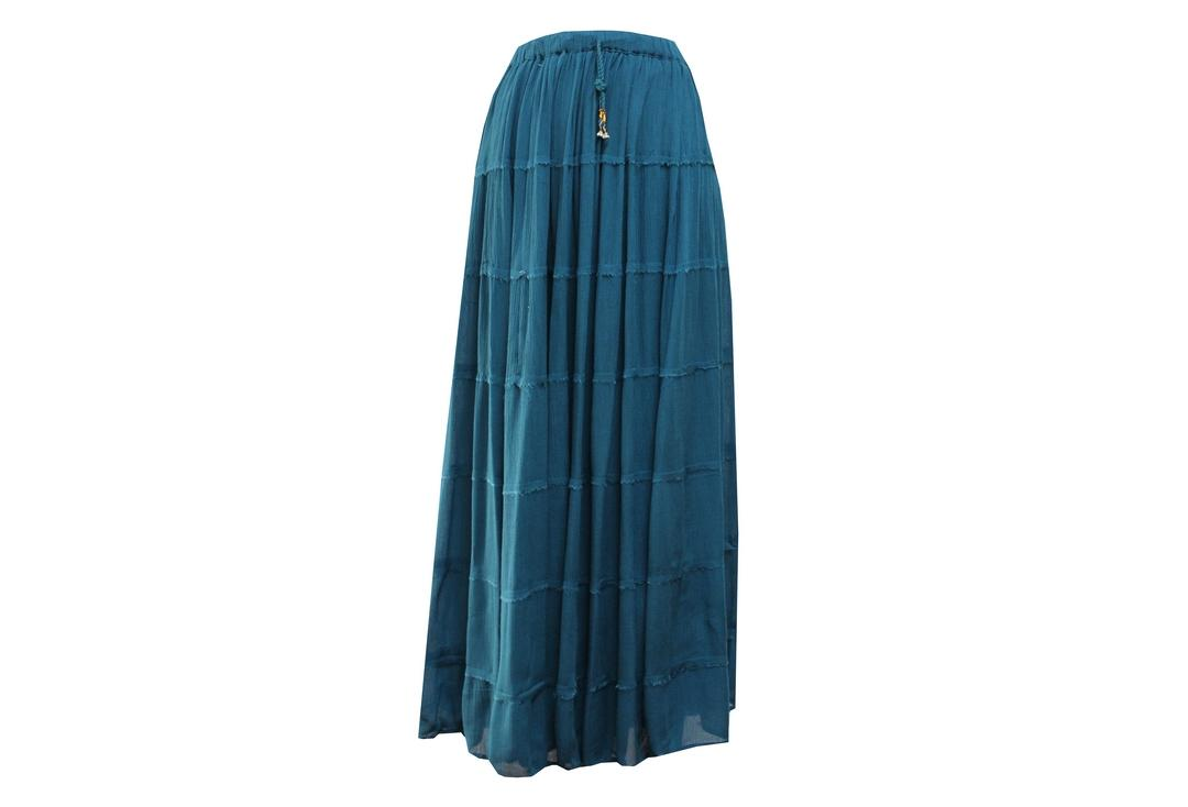 Void Clothing | Teal Hippy Tiered Crinkle Skirt - Front