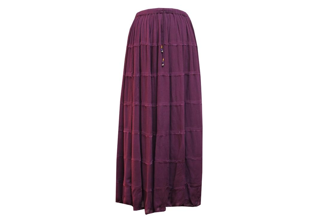 Void Clothing | Aubergine Hippy Crinkle Skirt - Front