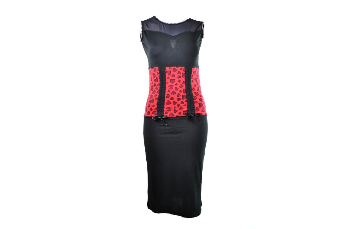 Rockabella | Sherry Black & Red Leopard Dress - Front