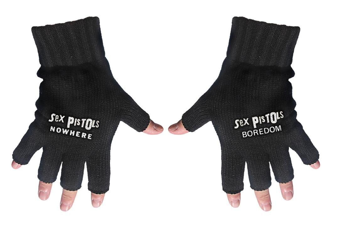 Official Band Merch | Sex Pistols - Nowhere/Boredom Embroidered Knitted Finger-less Gloves