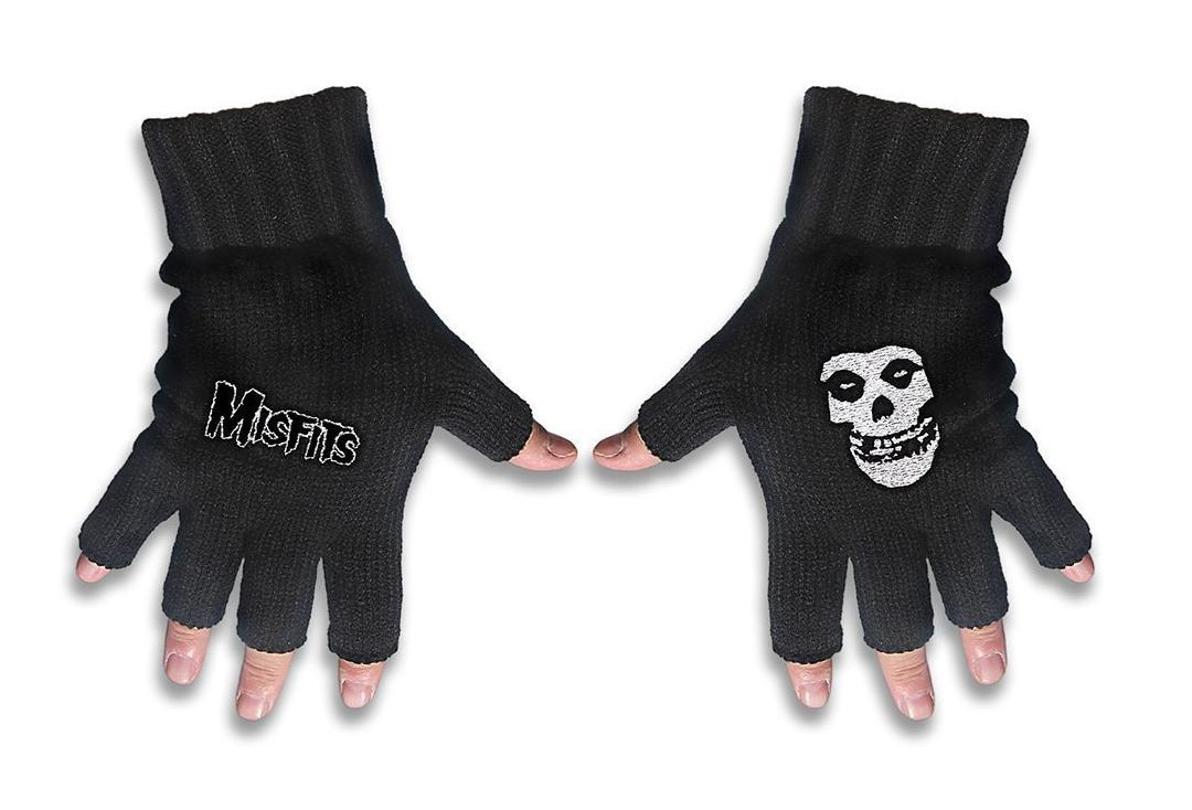Official Band Merch | Misfits - Logo & Fiend Embroidered Knitted Finger-less Gloves