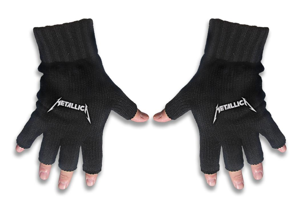 Official Band Merch | Metallica - Logo Embroidered Knitted Finger-less Gloves