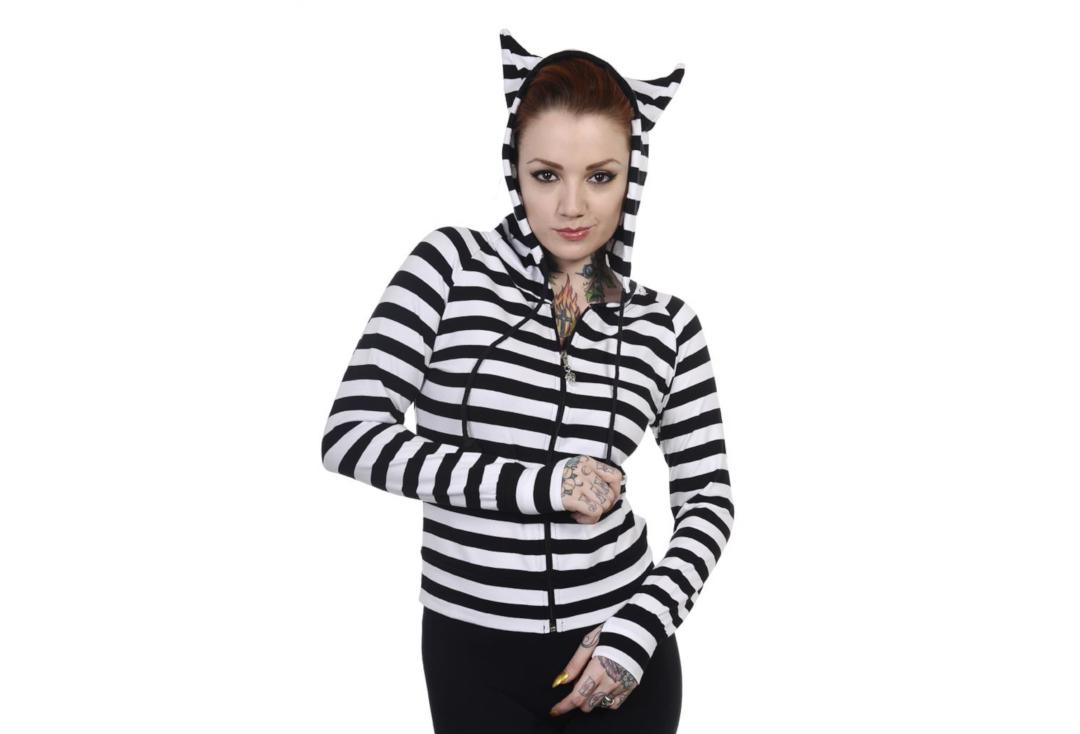 Banned Apparel | Black & White Stripe Cat Ears Hood Top
