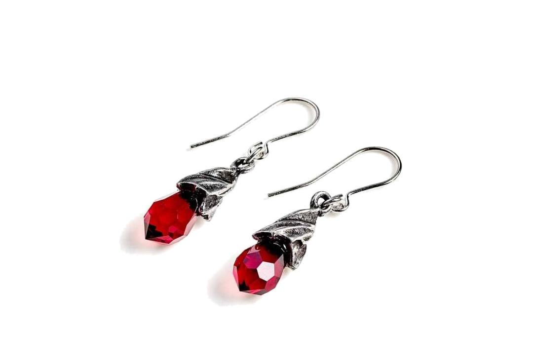 Alchemy Gothic | Empyrean Red Tear Droppers Earrings - Side