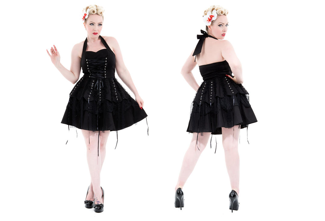 Hearts & Roses | Black Laces 6420 Dress - Front & Back