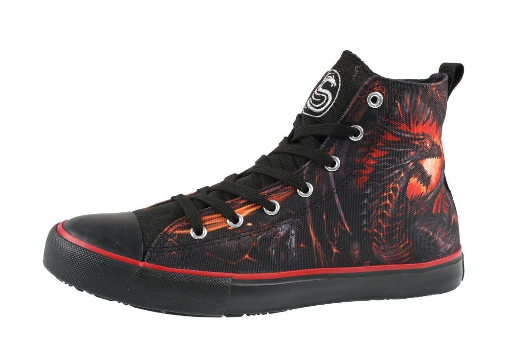 Dragon Furnace Men's Spiral Lace Up High Top Sneakers