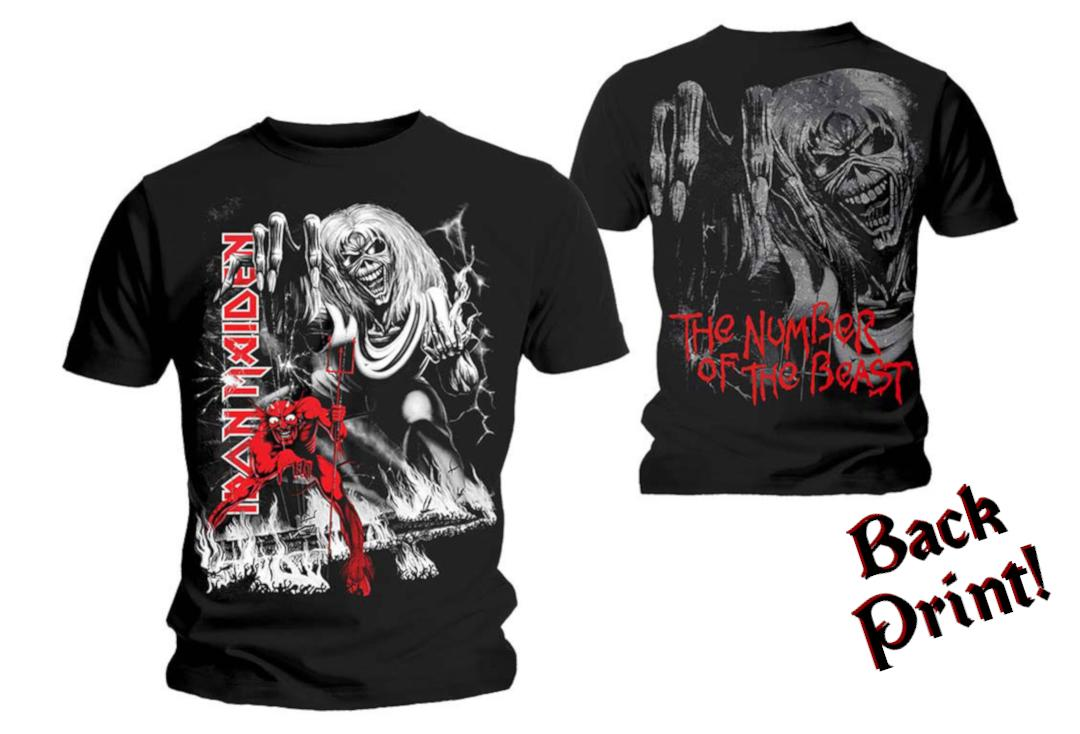 Official Band Merch | Iron Maiden - Number Of The Beast Jumbo Print Men's Short Sleeve T-Shirt - Front & Back View