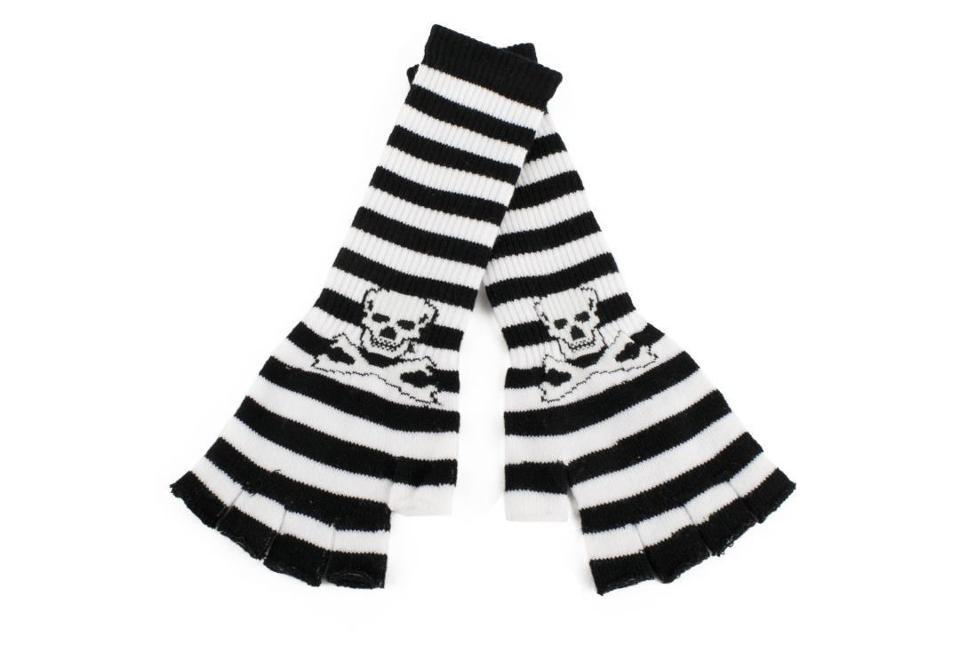 Void Clothing | White & Black Stripe Skull Finger-less Gloves