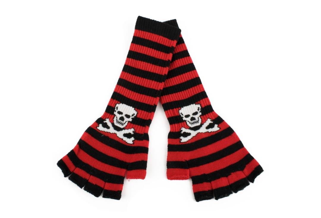 Zacharia | Red & Black Stripe Skull Finger-less Gloves