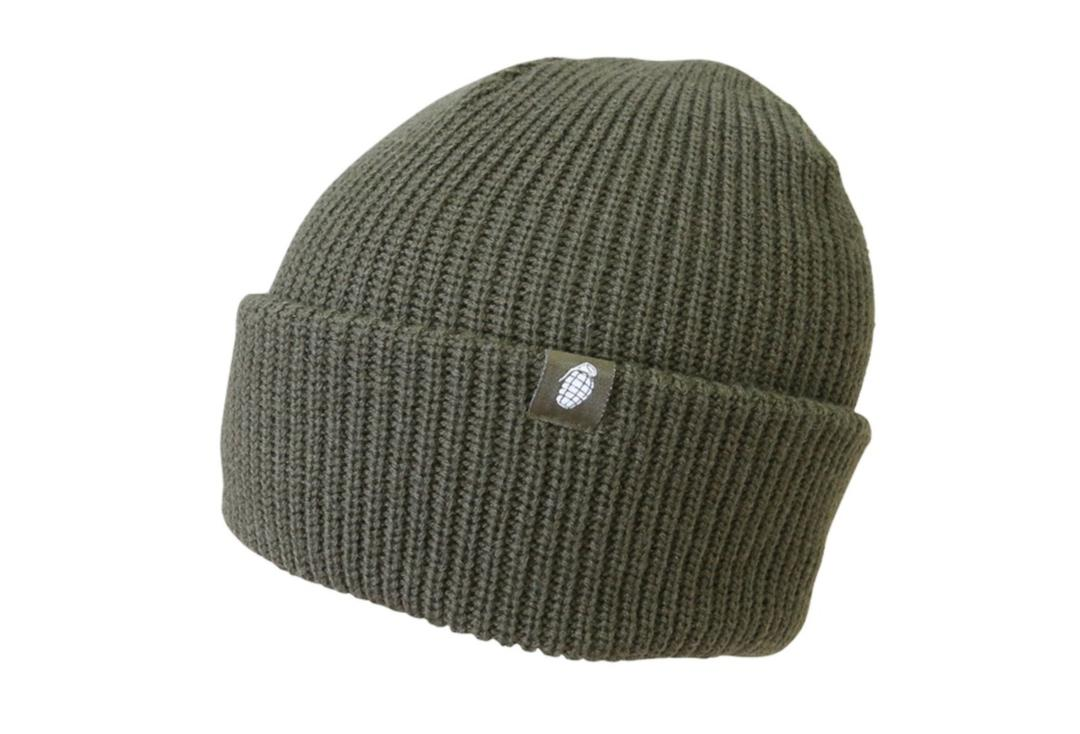 Kombat | Olive Green Grenade Chunky Knit Beanie Hat - Folded