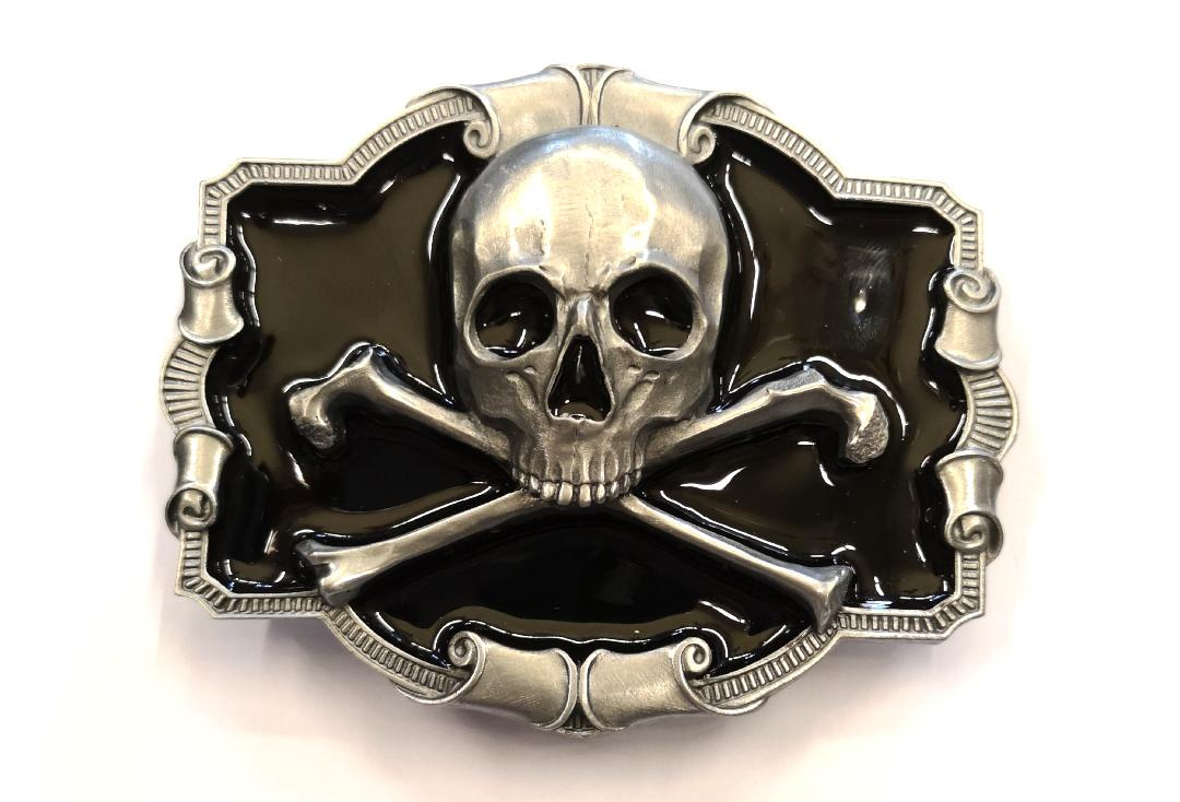Tanside | Black Skull & Crossbones Belt Buckle - Front