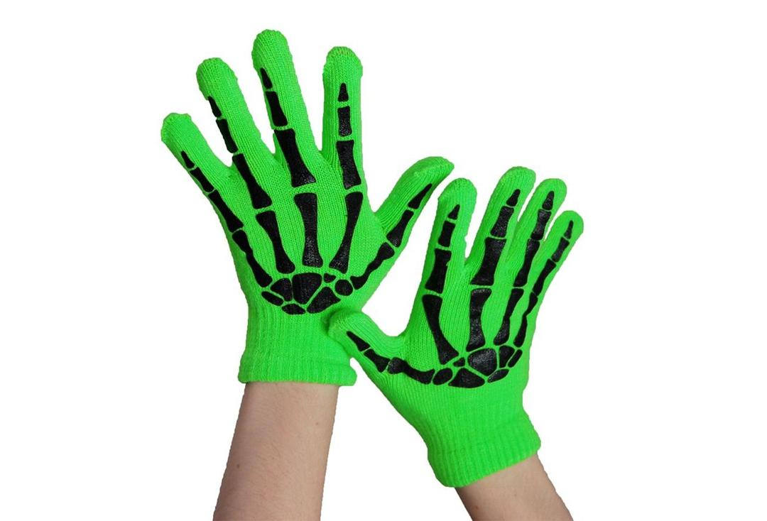 Poizen Industries | Green & Black Skele Gloves