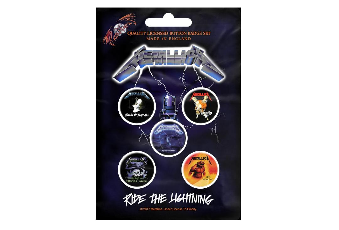 Official Band Merch | Metallica - Ride The Lightning Button Badge Pack