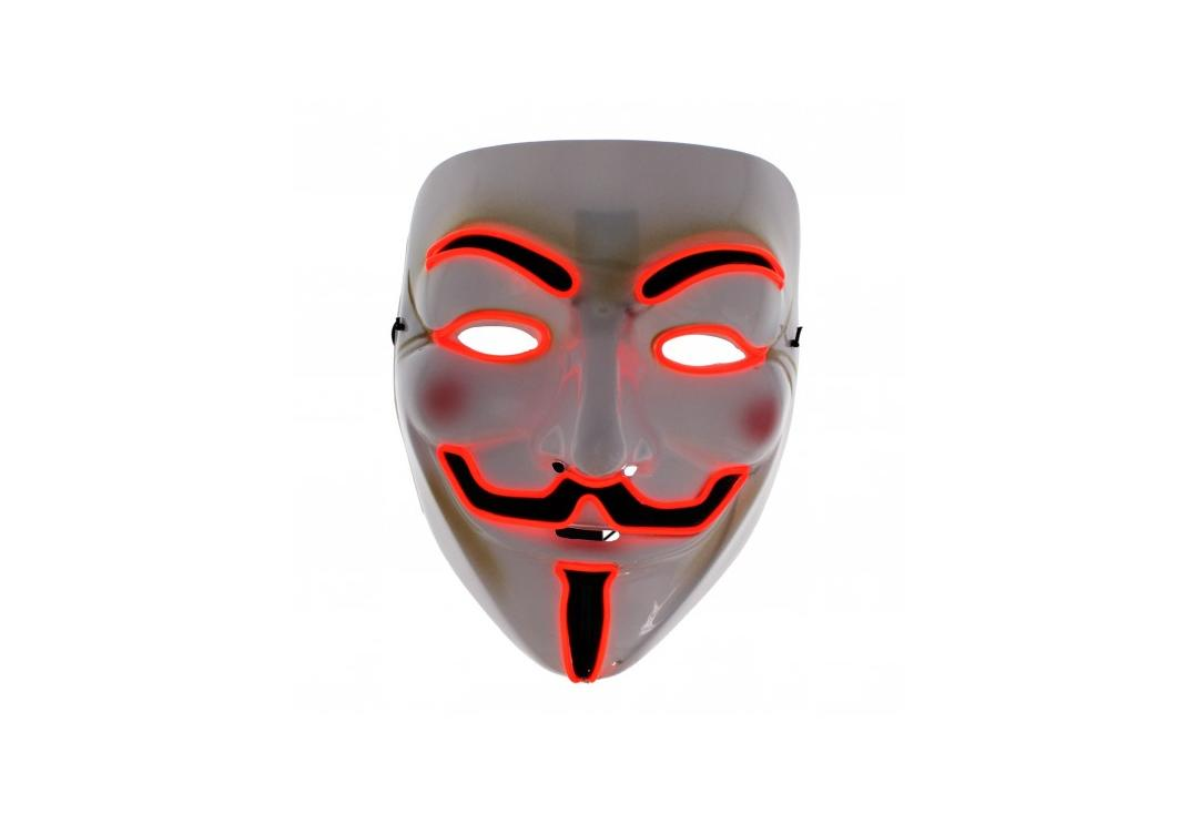 Void Clothing | Vendetta Red LED Light Up Plastic Mask