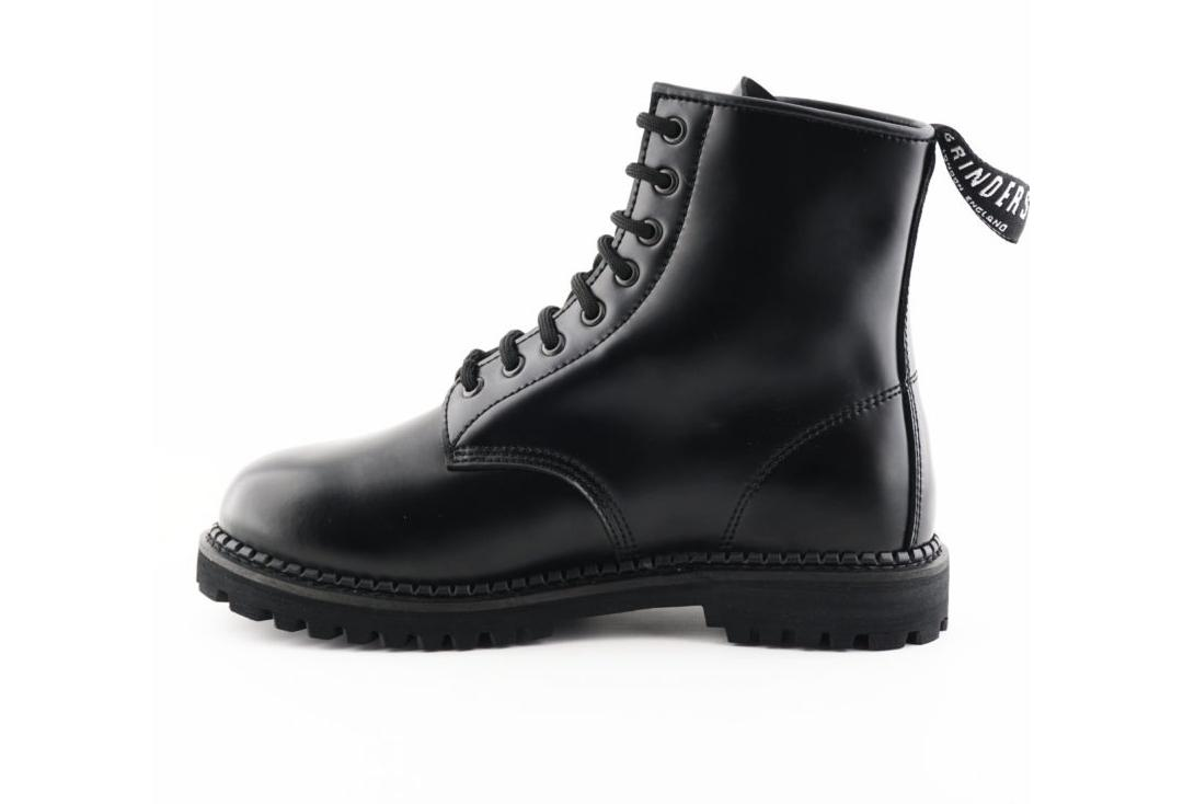 Grinders | Cedric Women's Black Leather Boots - Side View