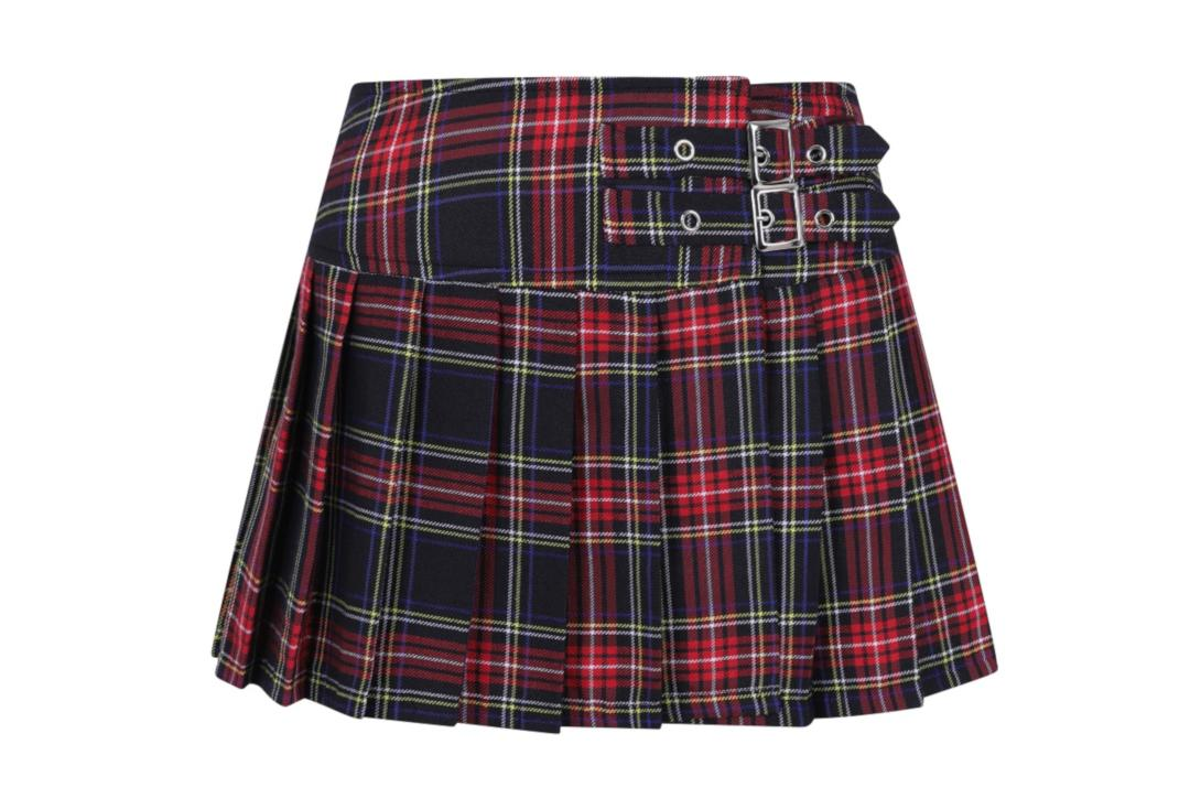 Banned Apparel | Black Tartan Buckle Mini Skirt - Front