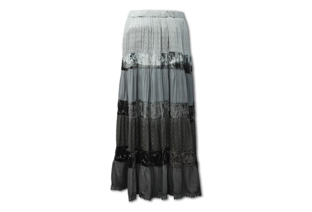 Void Clothing | Black & Grey Fade Tiered Hippy Skirt