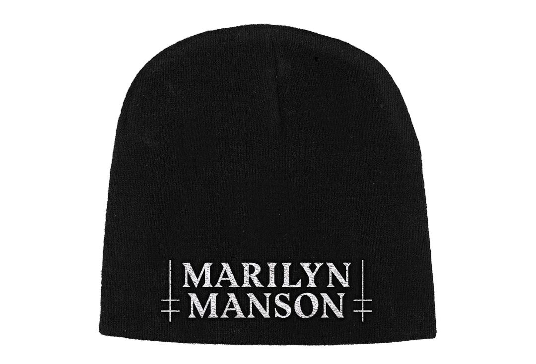 Official Band Merch | Marilyn Manson - White Logo Embroidered Knitted Beanie Hat