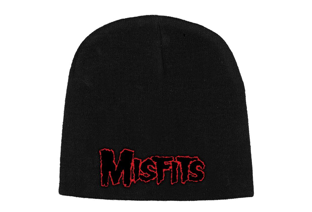 Official Band Merch | Misfits - Red Logo Embroidered Knitted Beanie Hat