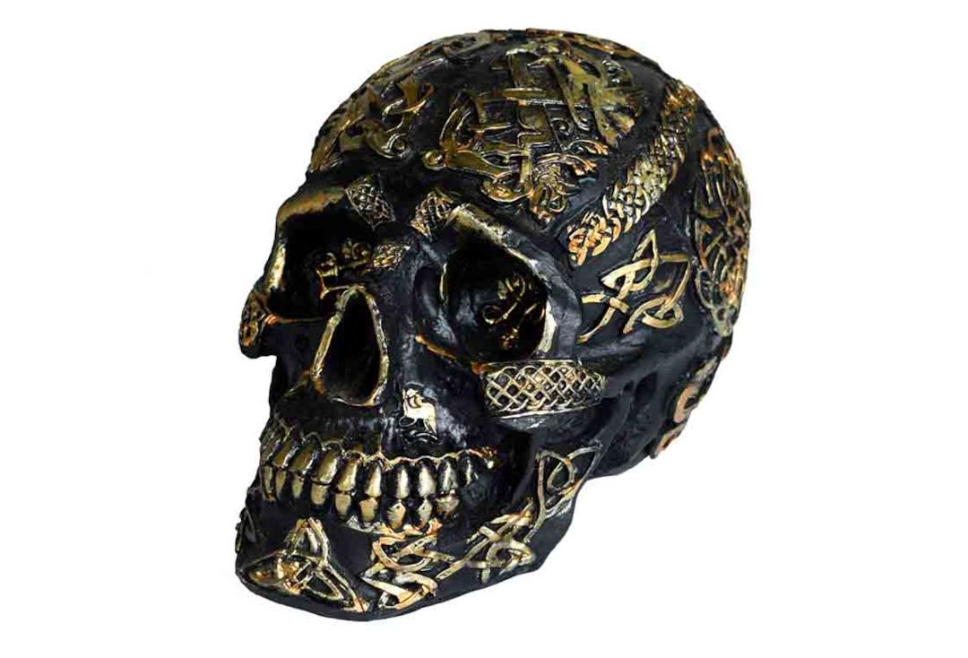 Void Clothing | Black & Gold Celtic Skull Decoration