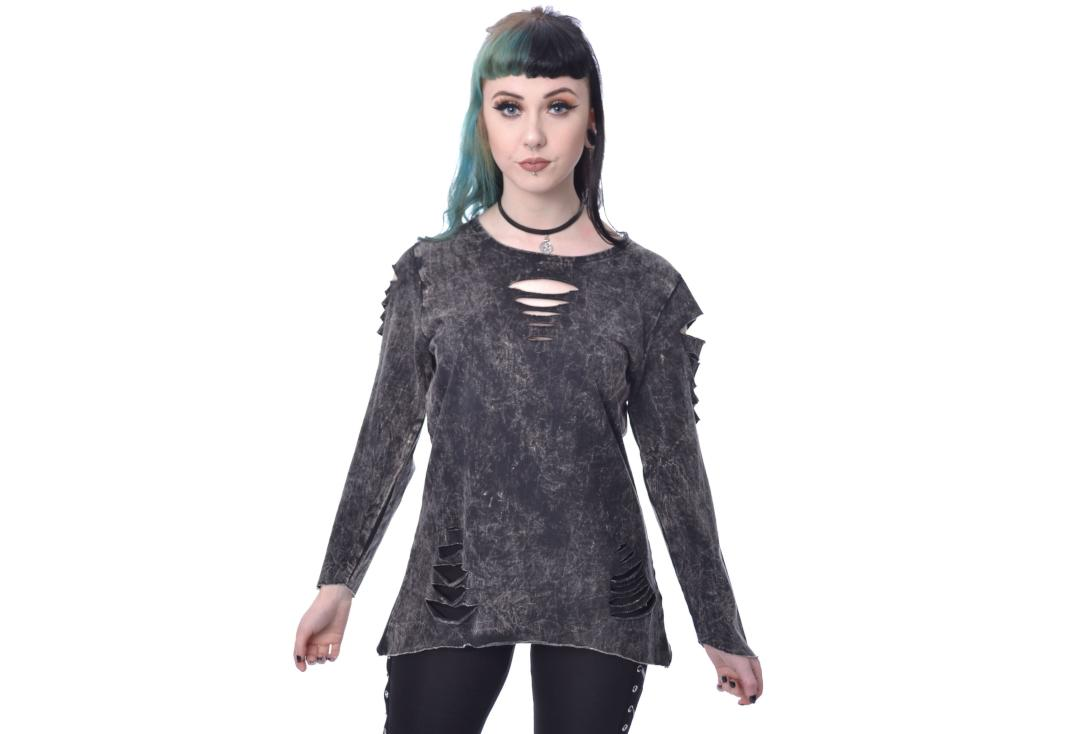 Innocent Lifestyle | Carabel Slash Stone-wash Long Sleeve Top - Front