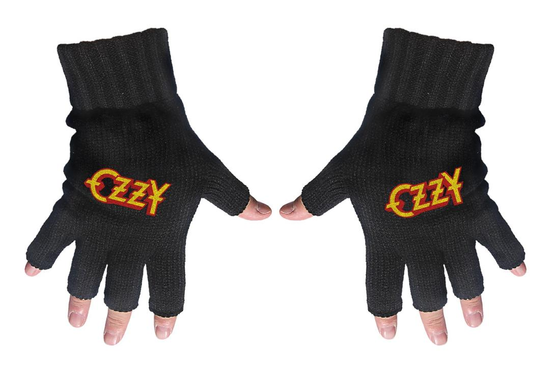 Official Band Merch | Ozzy Osbourne - Logo Embroidered Knitted Finger-less Gloves