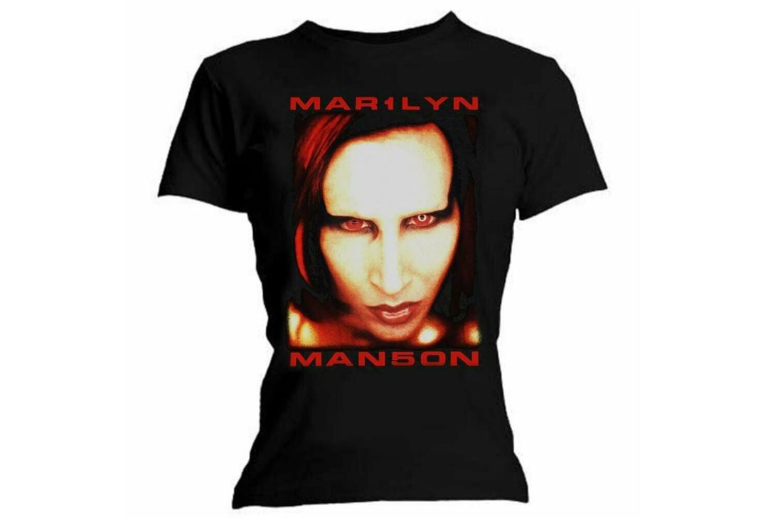 Official Band Merch | Marilyn Manson - Face/Bigger Than Satan Official Skinny Fit T-Shirt
