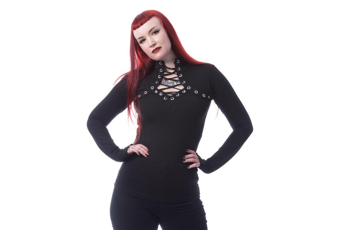 Official Band Merch | Amoret Lace Up Black Poizen Industries Long Sleeve Top - Front