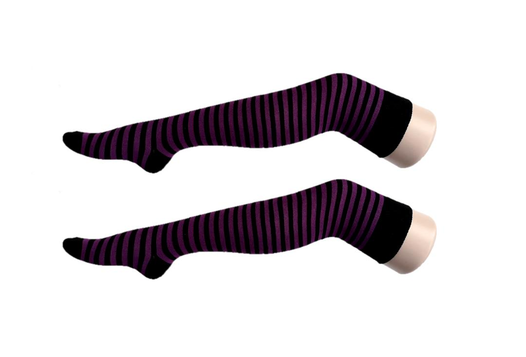 Macahel | Purple & Black Thin Stripe Over The Knee Socks