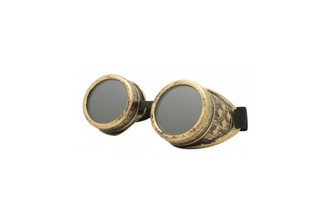 Void Clothing | Distressed Brass Round Cyber Goggles