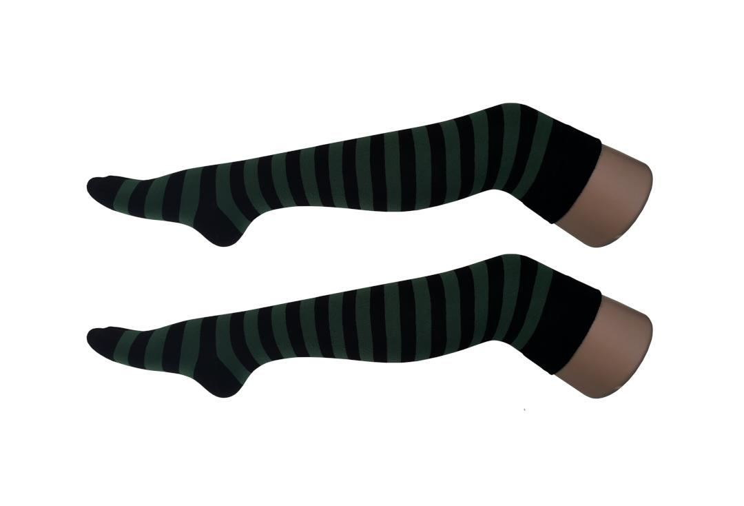 Macahel | Bottle Green & Black Thick Stripe Over The Knee Socks