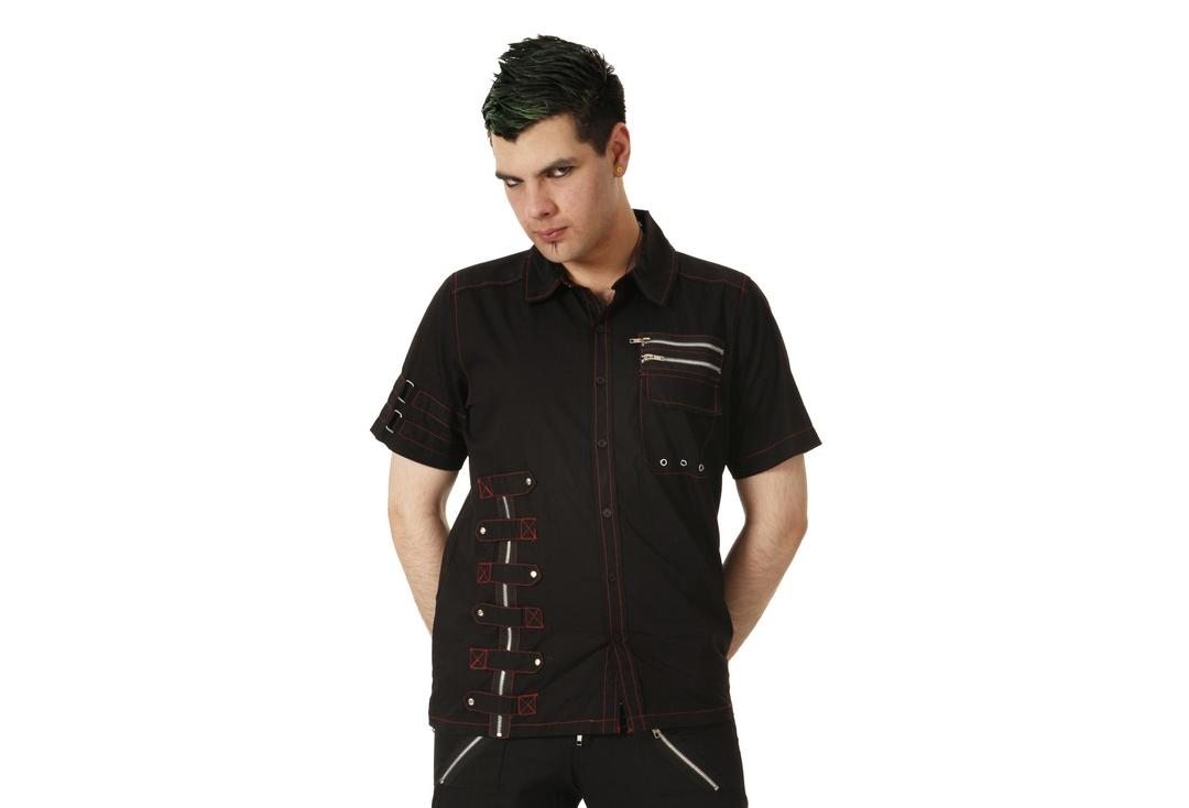 Dead Threads | Zip & Red Detail 1236 Short Sleeve Shirt - Front Modelled